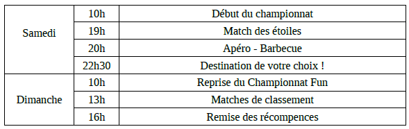 tournoi NoFunNoGame Planning
